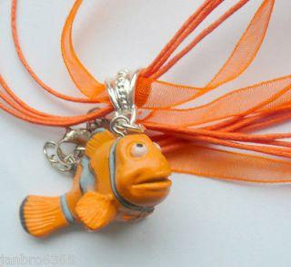 Kawaii Cute Finding Nemo Charm Pendant on matching Organza & Cord