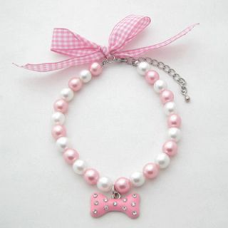 10 Dog pearls necklace,pet collar with pink bone pendant,with ribbon