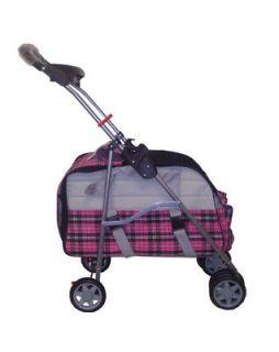 Pink Plaid 3 In 1 Pet Dog Cat Stroller/Carrier/Car Seat