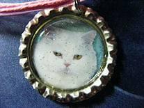 Sweet White KITTY Cat Bottle cap PENDANT & adjustable pink organza r