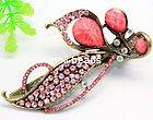 Pink crystal floral flower painted barrette hair clip