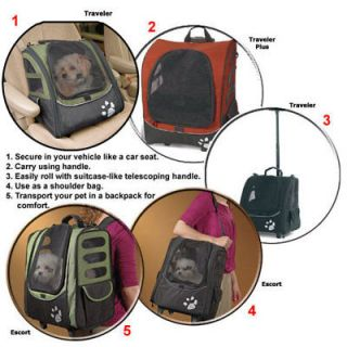 Pet Carrier Car Seat Wheeled Backpack I GO Traveler Plus Pet Gear