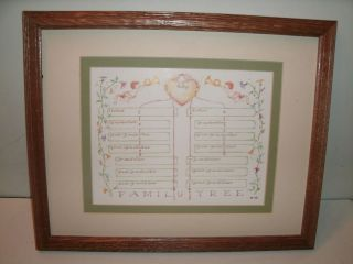 FAMILY TREE PICTURE FRAME W/ WOOD FRAME 15.5 INCHES WIDE X 12 INCHES