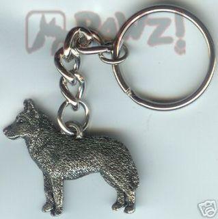 SIBERIAN HUSKY Dog Pewter Keychain Key Chain Ring **