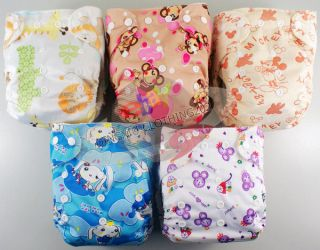 USABLE BAMBOO BABY DIAPER CLOTH NAPPY+BAMBOO INSERT Animal5 Patterns
