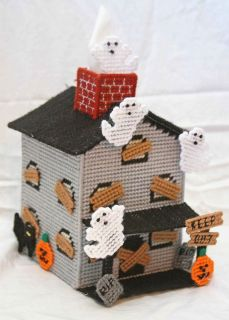 Haunted House Tissue Topper ghost  Plastic Canvas Kit Halloween