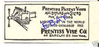 1908 PRENTISS PATENT VISE AD NEW YORK BLACKSMITH