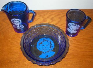 Shirley Temple Cobalt Glass   Bowl, Pitcher and Cup   Breakfest Set