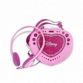 DISNEY PRINCESS HEART SHAPED GIRLS PORTABLE ANTI SKIP CD PLAYER +STRAP