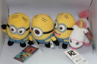 despicable me unicorn plush toys minions set of 4 party