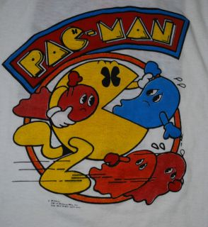 VINTAGE PAC MAN FEVER GAME T  SHIRT 1980S L ORIGINAL