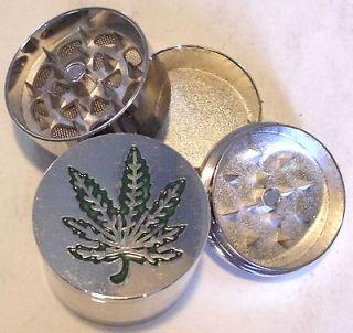 HERB GRINDER Large Pot Weed Leaf Metal Magnetic Pollen Screen 3 Piece