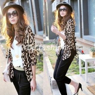 Leopard Print Shirt Half sleeve Tops Chiffon Blouse Tee Ponchos S M L