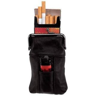 Leather Cigarette Case Tobacco Holder Lighter Pocket Clip Close Top
