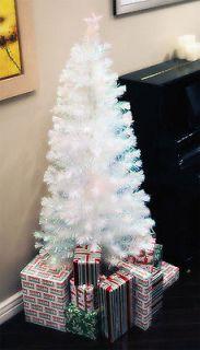 FT WHITE PRE LIT MULTI COLOR LED FIBER OPTIC CHRISTMAS TREE