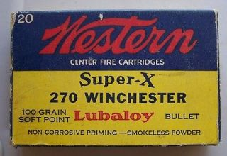 Winchester Western .270 Ammo Box *Vintage* Lubaloy 100 Gr.