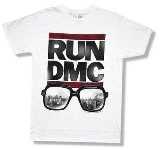 RUN DMC   DOWN WITH RUN SUNGLASSES WHITE T SHIRT   NEW ADULT X LARGE