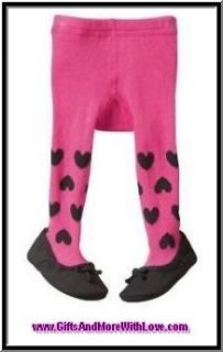 Baby Gap NWT Pink HEARTS BLACK SHOES BOW DRESS TIGHTS 0 3 6 12 18 24