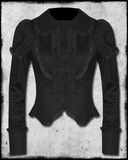 SPIN DOCTOR BLACK STEAMPUNK GOTH VTG VICTORIAN STYLE MARIANNE BLOUSE