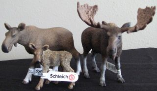 SCHLEICH Moose set: Bull, Cow, and Calf