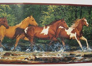 RUNNING HORSES QUARTER HORSES PAINTS Wallpaper Border 9