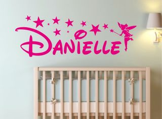 TINKERBELL FAIRY NAME STICKER WALL ART BEDROOM DECAL QUOTE