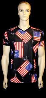 MENS V NECK DESIGNER TSHIRT USA FLAG PATCH PUNK ROCK N ROLL INSANITY S