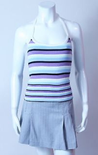 FRED PERRY FUN PURPLE BLUE BLK STRIPE TENNIS HALTER TOP SIZE SMALL