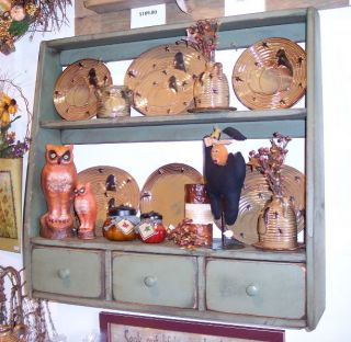Handmade Primitive Plate Rack with 3 Drawers  10 Colors