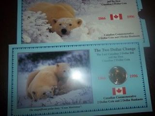 RARE 1996 CANADA 1ST $2 GERMAN PLANCHET + LAST 2 DOLLAR BILL SET