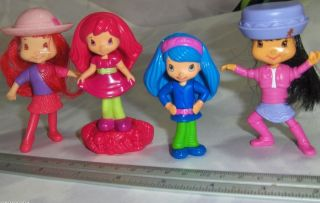 Strawberry Shortcake Toy PVC Figure Doll Lot 4 Girl Cup Cake Toppers