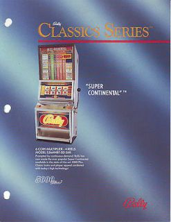 BALLY SUPER CONTINENTAL 5000 PLUS ORIGINAL SLOT MACHINE FLYER BROCHURE
