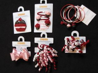 Sweet Treats Hair Snap Clips Bows Curly Bracelets Cupcake Pink Red