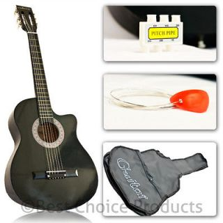 New Black Acoustic Guitar Cutaway Design With Guitar Case, Strap