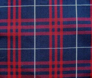 16 Y NAVY RED TARTAN PLAID SLIPCOVER UPHOLSTERY FABRIC