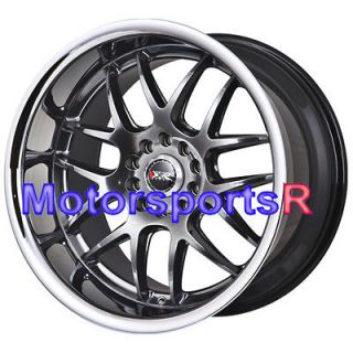 18x10.5 XXR 526 Chromium Black Rims Staggered Wheels 5x114.3 Deep Dish