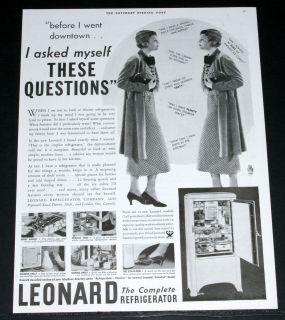 MAGAZINE PRINT AD, THE LEONARD REFRIGERATOR, 11 NEW MODELS, LEN A DOR