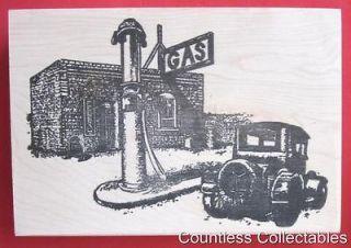 Antique Gas Station 1940s Car Sign Background Rubber Stamp River City