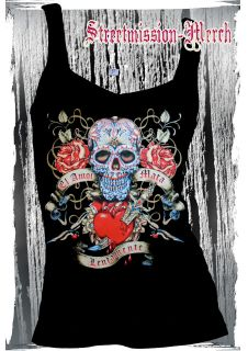 SUGAR SKULL,SCROLL,DAY OF THE DEAD,ROCKABILLY,TATTOO,LADIES V NECK