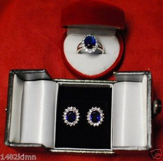 Replica Royal Engagement Kate Middleton CZ Sapphire Ring Earring Size