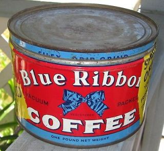 Vintage Advertising 1 # Blue Ribbon Coffee Can Tin Key Wind Canada