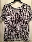 MICHAEL KORS Black/White Short Sleeve Shirt w/Rhinestone MK Logo (XL