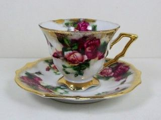 Vintage Tea Cup Royal Sealy China Japan Footed Pink & Red Roses Nicely