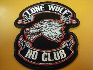 Lone Wolf No Club Biker Patch NEW