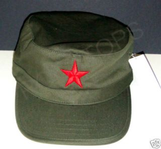 CHE GUEVARA RED EMBROIDERED STAR MILITARY CADET CAP HAT NEW   GREEN