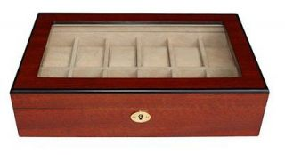 12 CHERRY ROSE WOOD GLASS TOP WATCH JEWELRY DISPLAY CASE COLLECTOR BOX