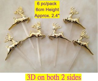 6pc 3D Cupcake Pick Cake Topper Puffy Deer Merry Christmas Tree Party