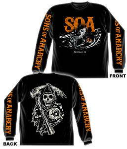 SOA Sons of Anarchy T Shirt Samcro Reaper Flag Long Sleeve Motorcycle