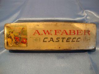 Antique Metal Pencil Box A.W.Faber Castell OLD Tin 7L x 2 Knights