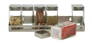 RSVP Herb/Spice Rack w/ 6 Glass Bottles Jars 18/10 Stainless Steel NEW
